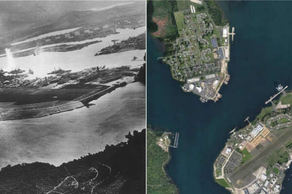 (LEFT PHOTO) Ford Island is seen in this aerial view during the Japanese attack on Pearl harbor December 7, 1941 in Hawaii. The photo was taken from a Japanese plane. (RIGHT) Google Maps satellite image of Ford Island in Pearl Harbor.