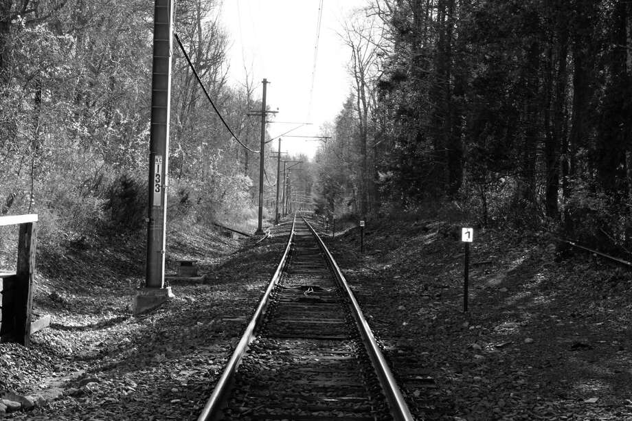 Train tracks leading away from Talmadge Hill Metro-North station in New Canaan. Photo: Justin Papp / Hearst Connecticut Media / New Canaan News
