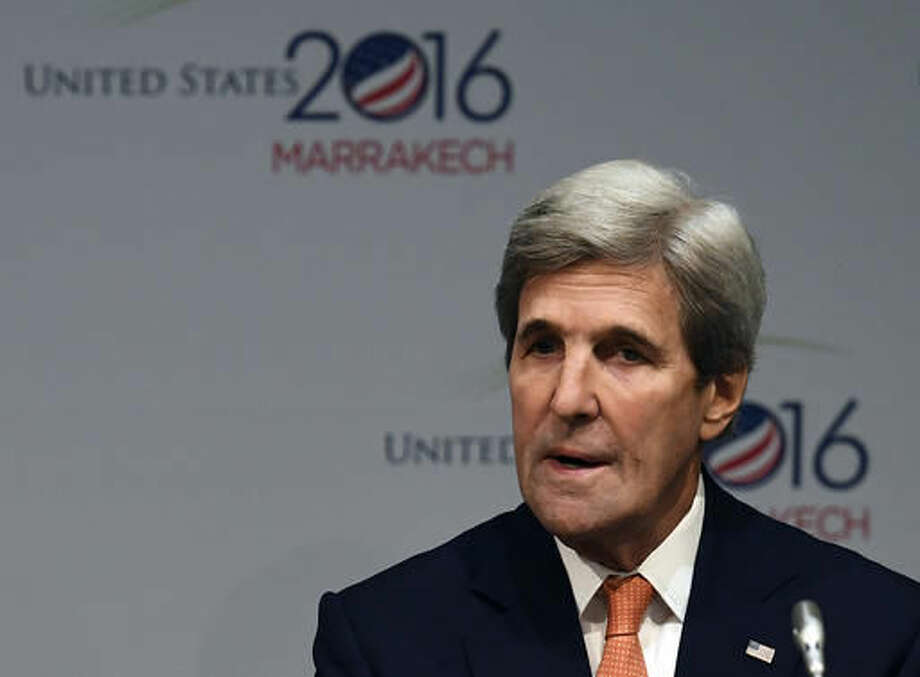 US Secretary of State John Kerry speaks, during a Major Economies Forum meeting at the COP22 climate change conference in Marrakech, Wednesday, Nov 16, 2016. (Mark Ralston, Pool Photo via AP)
