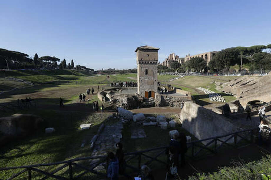 A general view of Circus Maximus' newly opened archeological site, in Rome, Wednesday, Nov. 16, 2016. Six years of excavations have given Rome a new tourist attraction in Circus Maximus, an open-air archeological ruin that for centuries has been a vast muddy field, lately used mainly by dog-walkers. (AP Photo/Gregorio Borgia)