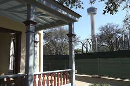 The Tower of the Americas is seen from the Pereida House at Hemisfair Park, Tuesday, Jan. 12, 2016. Several historic structure are under renovations.