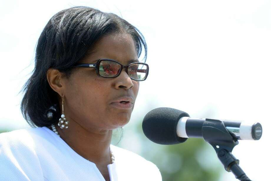 Principal Aresta Johnson speaks during graduation exercises for the Central High School Class of 2012, held at Kennedy Stadium, in Bridgeport, Conn. June 18th, 2012. Photo: Ned Gerard / Ned Gerard / Connecticut Post