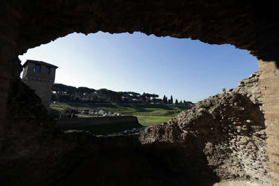 A view of Circus Maximus' newly opened archeological site, in Rome, Wednesday, Nov. 16, 2016. Six years of excavations have given Rome a new tourist attraction in Circus Maximus, an open-air archeological ruin that for centuries has been a vast muddy field, lately used mainly by dog-walkers. (AP Photo/Gregorio Borgia)