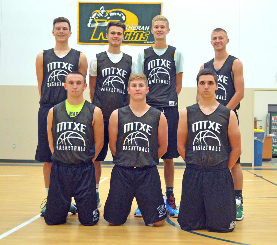 Seniors on the Metro-East Lutheran boys' basketball team are, front row from left, are Thomas Schroader, Garrett Niemeier and Kyle Johnson. In the back row, from left, are Braden Woolsey, J.J. Schwarz, Noah Coddington and Zach Crank.