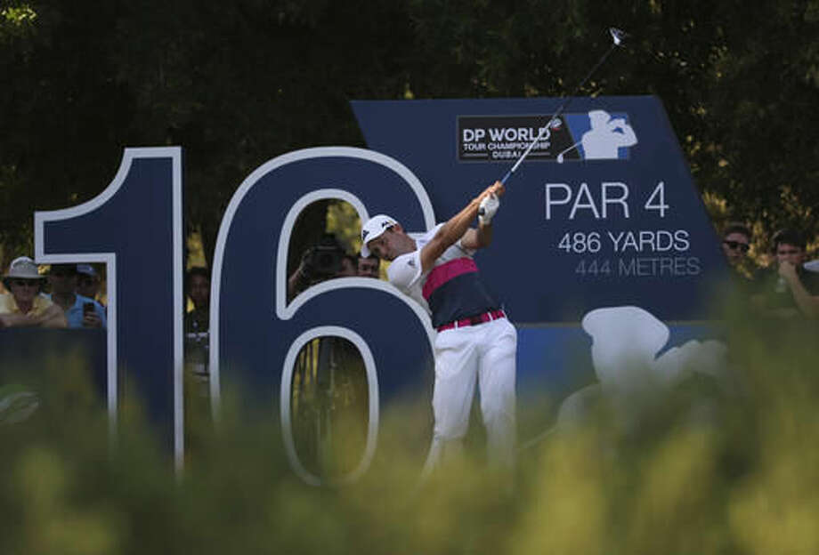 Sergio Garcia of Spain tees off on the 16th hole during the 2nd round of the DP World Tour Championship golf tournament at the Jumeirah Golf Estates in Dubai, United Arab Emirates, Friday, Nov. 18, 2016. (AP Photo/Kamran Jebreili)