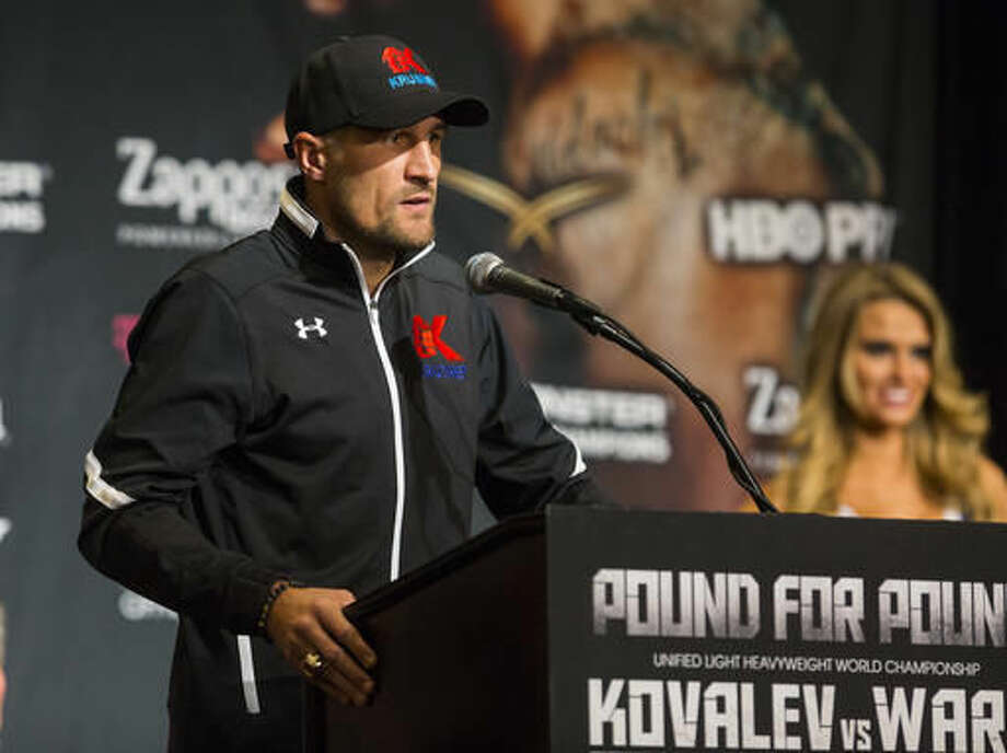Sergey Kovalev speaks during a news conference at the MGM Grand hotel-casino in Las Vegas, Thursday, Nov. 17, 2016. Kovalev is scheduled to fight Andre Ward at the T-Mobile Arena on Saturday. (Chase Stevens/Las Vegas Review-Journal via AP)