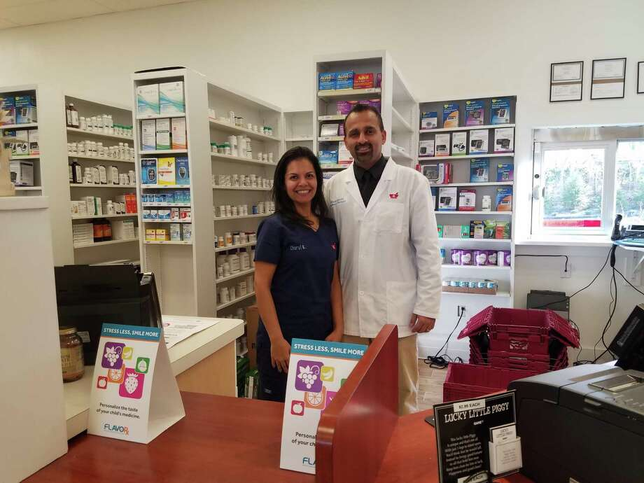 Pharmacist Alok Bhatt and his wife, Charul Bhatt, opened Trumbull Pharmacy on Broadway Road in the Long Hill Green last month. Photo: Keila Torres Ocasio / Hearst Connecticut Media