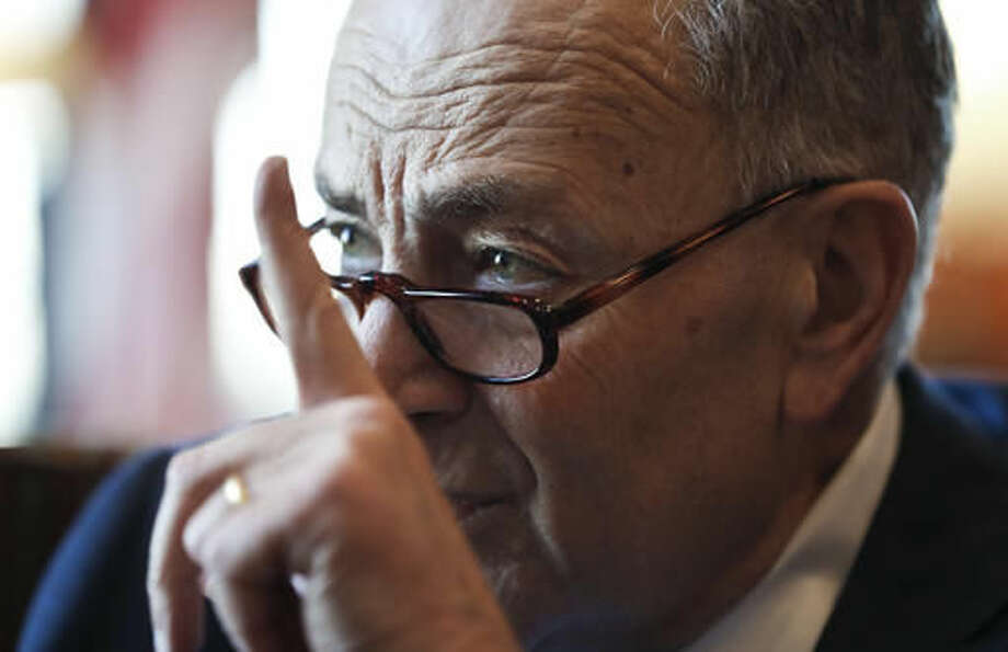 Senate Minority Leader-elect Chuck Schumer of N.Y. speaks during an interview with The Associated Press in his office on Capitol Hill in Washington, Friday, Nov. 18, 2016. (AP Photo/Alex Brandon)