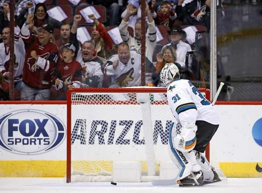 Arizona Coyotes fans celebrates a goal by Coyotes right wing Tobias Rieder against San Jose Sharks goalie Martin Jones (31) during the first period of an NHL hockey game Saturday, Nov. 19, 2016, in Glendale, Ariz. (AP Photo/Ross D. Franklin)