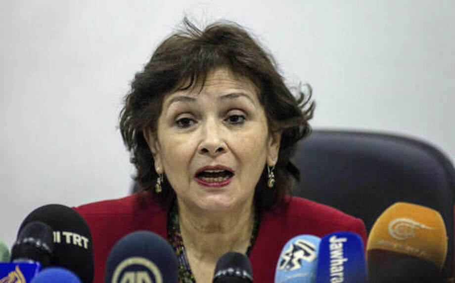 In this photo dated Monday, Nov. 14, 2016, the president of the Truth and Dignity Commission, Sihem Ben Sedrine, addresses the media during a press conference held in Tunis, Tunisia. Tunisians who faced abuses under decades of authoritarian rule are publicly airing their grievances to a special commission seeking to reconcile lingering tensions after a democratic revolution. (AP Photo/Ali Mhadhbi)