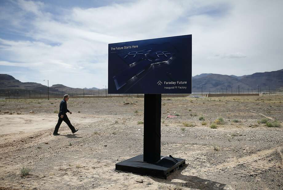 Not much progress has been made on the Faraday plant planned for North Las Vegas, which broke ground in April. Photo: John Locher, Associated Press