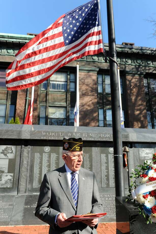 Marine Corps veteran Thomas Kanasky leads the Pearl Harbor Day Remembrance ceremony in Bridgeport, Conn. Dec. 7, 2015. Photo: Ned Gerard / Hearst Connecticut Media / Connecticut Post