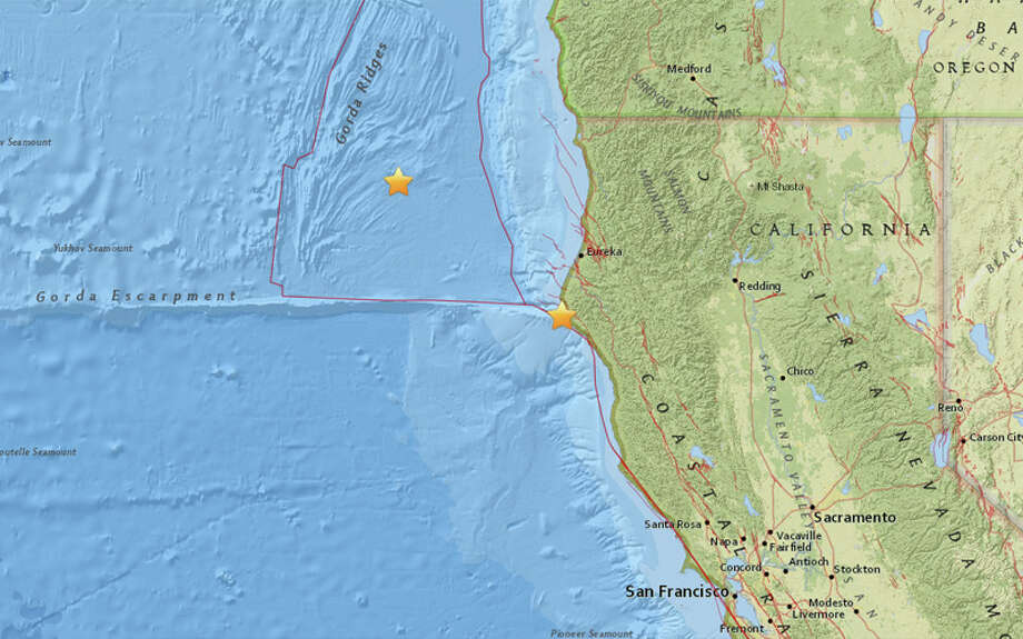 A magnitude 4.3 quake struck yesterday 37 miles southwest of Eureka, California. A 4.4 earthquake struck this morning 117 miles West Northwest of Eureka, California. Photo: USGS