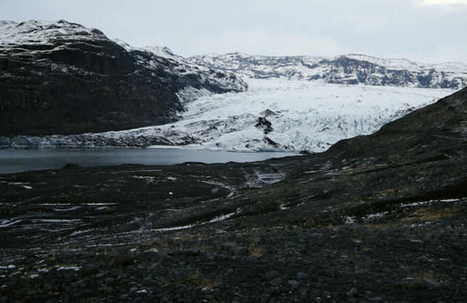 The glacier of Volcano Katla near Vik, Iceland, Wednesday, Oct. 26, 2016. Katla Volcano has helped turn sleepy Vik, a community of 300 people some 110 miles (180 kilometers) east of the capital, Reykjavik, into a tourism hotspot. (AP Photo/Frank Augstein)