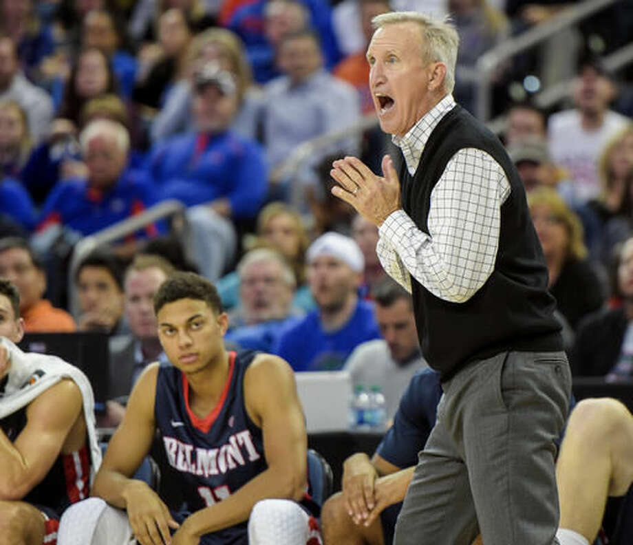 Belmont head coach Rick Byrd yells on the sideline during an NCAA college basketball game against Florida in Tampa, Fla., Monday, Nov. 21, 2016. (Andres Leiva/The Tampa Bay Times via AP)