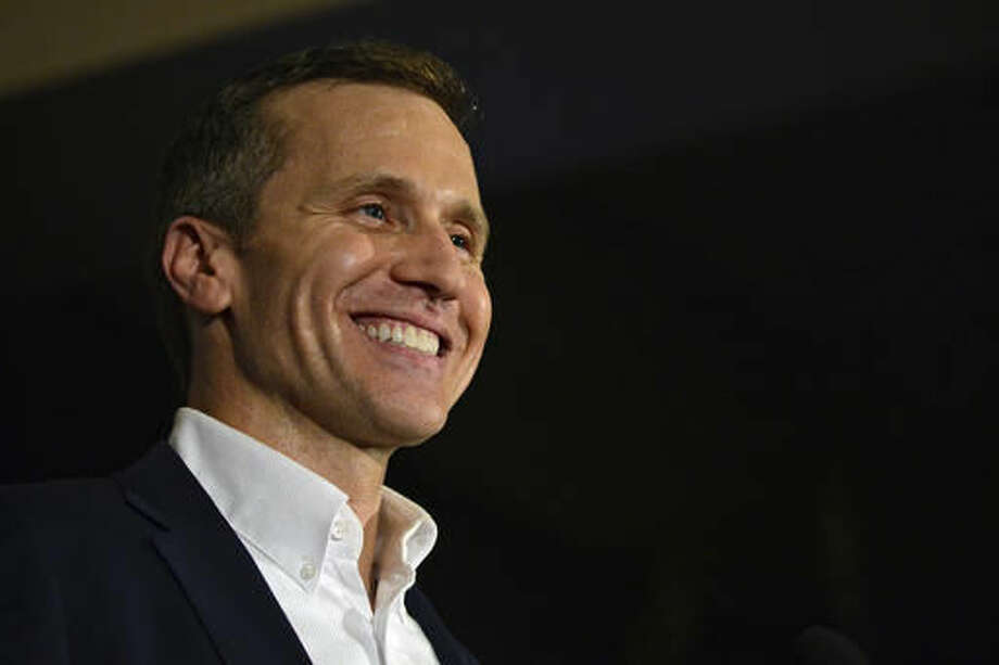 Missouri Republican Gov.-elect Eric Greitens delivers a victory speech Tuesday, Nov. 8, 2016, in Chesterfield, Mo. (AP Photo/Jeff Curry) Photo: Jeff Curry