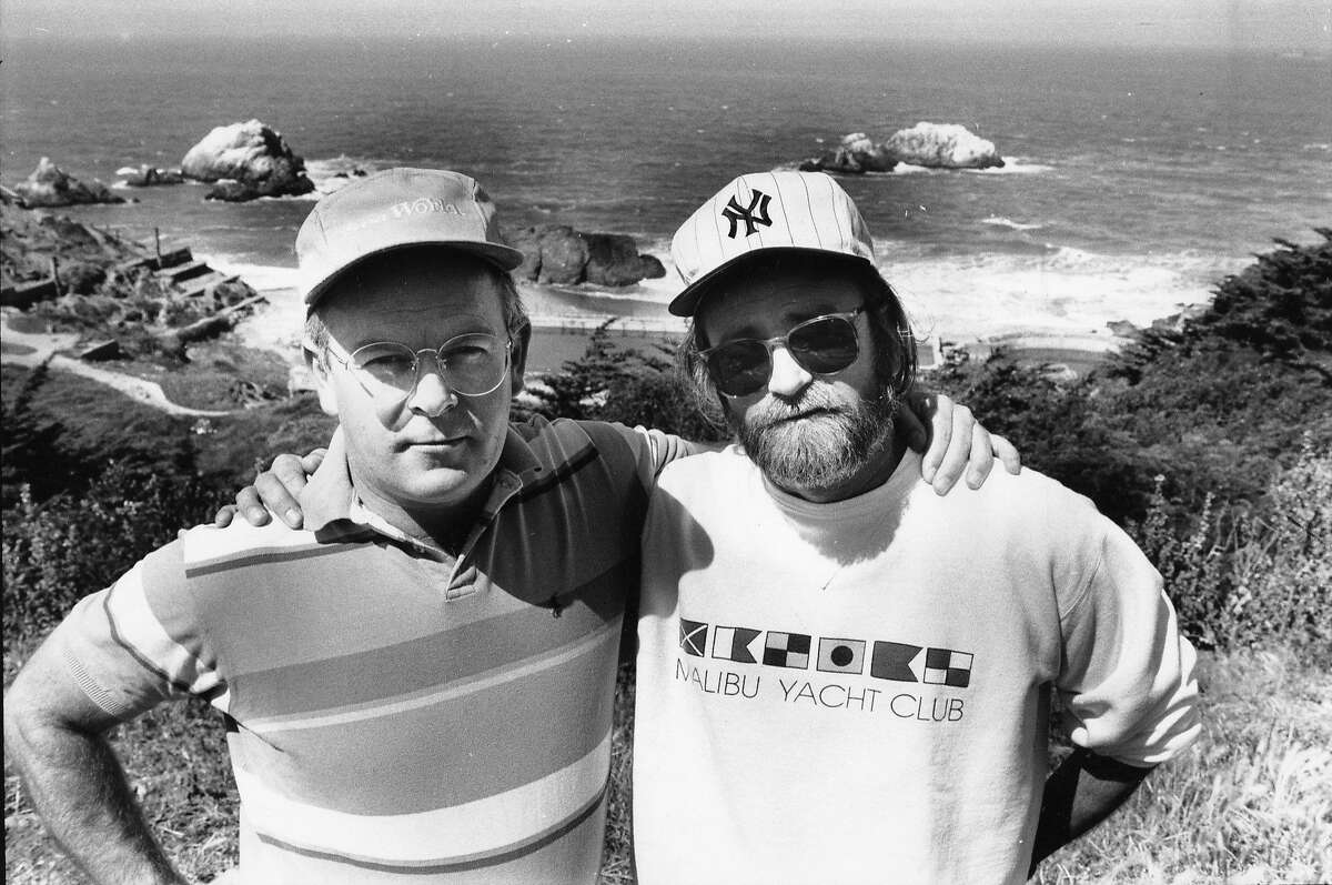 MITCHELL-B-27APR90-MN-JO - Jim and Artie Mitchell, the Mitchell Brothers at Ocean Beach, overlooking the old Sutro Baths where they nearly lost their lives earlier in 1990. Photo by John O'Hara
