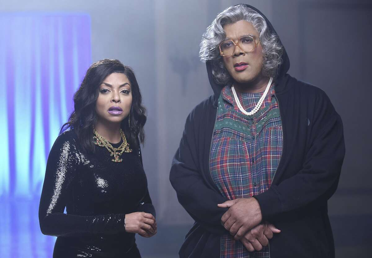 """This image released by FOX shows Taraji P. Henson, left, and guest star Tyler Perry as Madea in """"Taraji's White Hot Holidays,"""" a holiday special airing Thursday, Dec. 8 at 8:00 ET/PT on FOX. (Ray Mickshaw/FOX via AP)"""