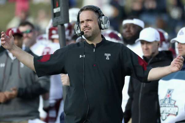 Coach Matt Rhule of the Temple Owls reacts to a play in the second quarter against the Navy Midshipmen during the AAC championship game at Navy-Marine Corps Memorial Stadium on Dec. 3, 2016 in Annapolis, Md.