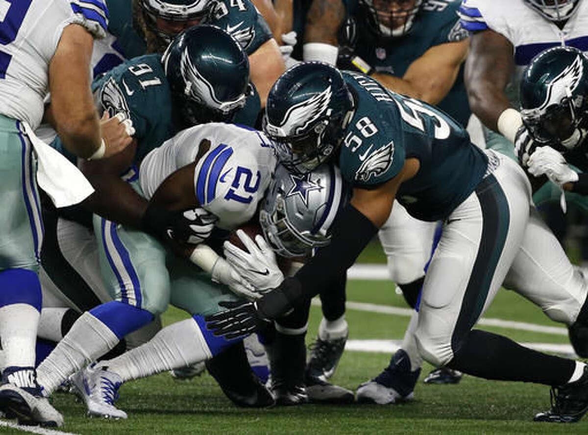 Cowboys at Eagles: McClain - Eagles Robertson - Cowboys Wilson - Cowboys Solomon - Eagles Smith - Eagles Creech - Cowboys