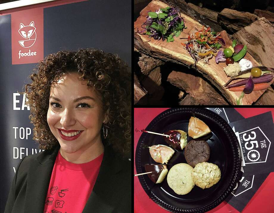 """Miranda Puente is the San Antonio """"city manager"""" for the Canada-based office meal delivery service Foodee, which has launched in San Antonio. Restaurant partners include Tim the Girl Catering Co, top right, and the 350 Baking Co. Photo: Mike Sutter, San Antonio Express-News"""