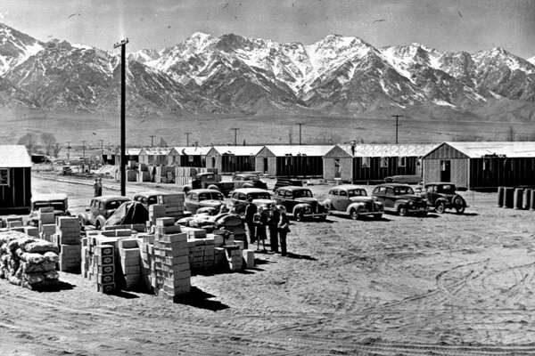 A historical photo of the Manzanar internment camp in the desert near Independence, Calif.