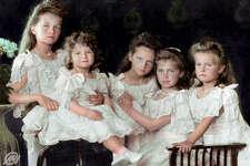 The children of Tsar Nicholas II, 1906. From left: Grand Duchess Olga, Tsesarevich Alexis, Grand Duchess Tatiana, Grand Duchess Maria and Grand Duchess Anastasia.