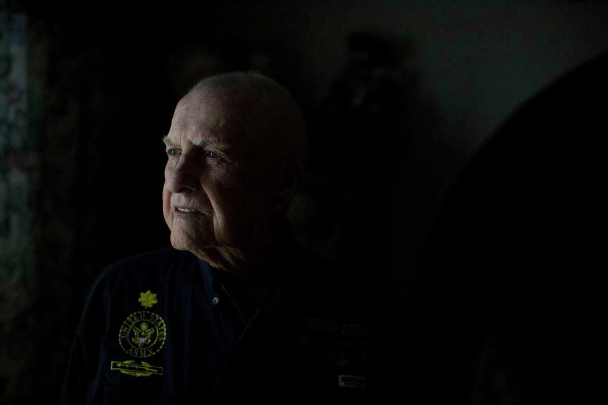 Virgil Lee Ward, then 95, stands for a portrait in his home in San Antonio in 2016. He was an Army private stationed in Hawaii during the attack on Pearl Harbor, and retired as a major after serving in Korea and Vietnam.