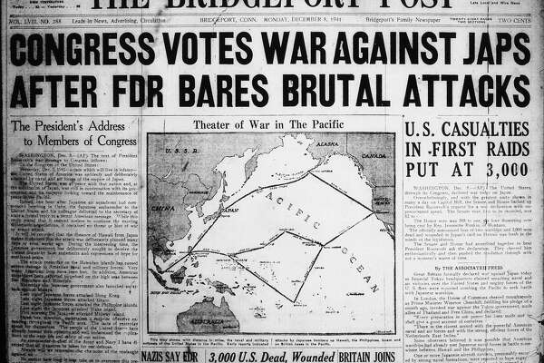 The front page of The Bridgeport Post, now the Connecticut Post, on Dec. 8, 1941 after the Japanese attack on Pearl Harbor.
