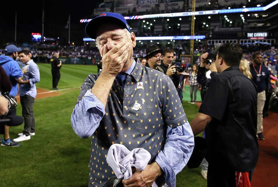 Actor Bill Murray reacts on the field after the Chicago Cubs defeated the Cleveland Indians 8-7 in Game Seven of the 2016 World Series at Progressive Field on November 2, 2016 in Cleveland, Ohio. The Cubs won their first World Series in 108 years. Photo: Ezra Shaw / 2016 Getty Images