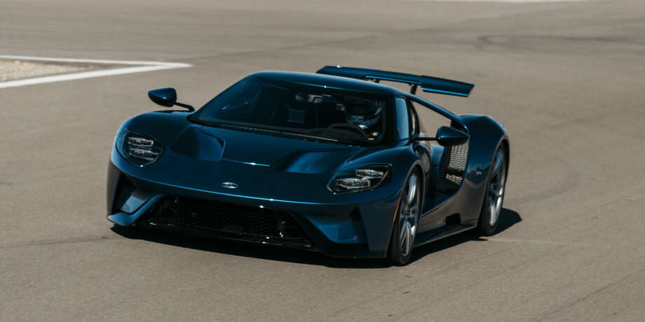 """Roadtesting the 2017 Ford GTFord's new GT, with a 3.5L EcoBoost V6 engine and more than 600 horsepower, has an aerodynamic shape that """"allows it to cut through the air unlike any Ford production car before it,"""" according to the company. Road & Track writer Bob Sorokanich and photographer Kevin McCauley observed road tests of 2017 GT prototypes at Las Vegas Motor Speedway in early December, 2016. (Road & Track) Photo: Road & Track"""