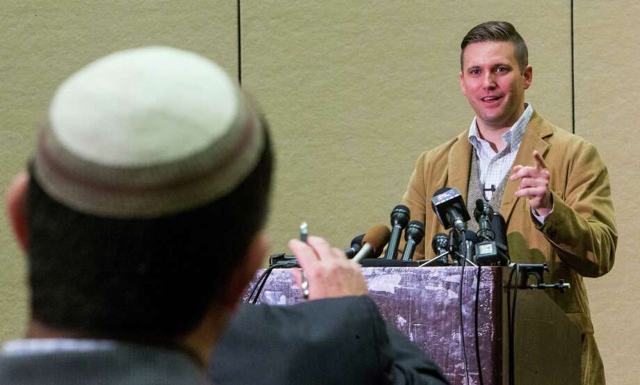 White nationalist Richard Spencer speaks during a news conference before his speech scheduled on the campus of Texas A&M University on Tuesday, Dec. 6, 2016, in College Station.  Photo: Brett Coomer, Houston Chronicle / © 2016 Houston Chronicle