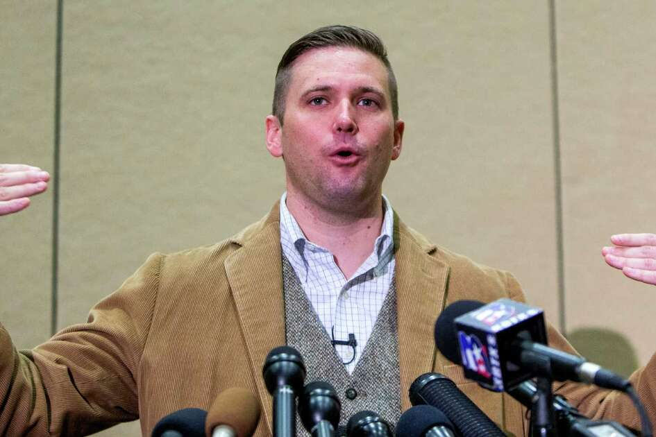"White nationalist Richard Spencer speaks during a news conference before his speech scheduled on the campus of Texas A&M University on Tuesday, Dec. 6, 2016, in College Station. Spencer runs the National Policy Institute, a nonprofit that says it is ""dedicated to the heritage, identity and future of people of European descent in the United States, and around the world."""