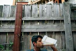 Software engineer Pulak Mittal drinks Soylent, a meal replace-ment drink on the rise in the tech industry, in San Francisco.