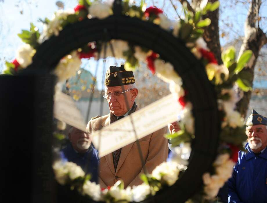 The annual Pearl Harbor Day remembrance ceremony in front of the World War II Monument on the Col. Henry Mucci Memorial Green on Broad Street in downtown Bridgeport, Conn. on Sunday, December 7, 2014. Photo: Brian A. Pounds / Brian A. Pounds / Connecticut Post