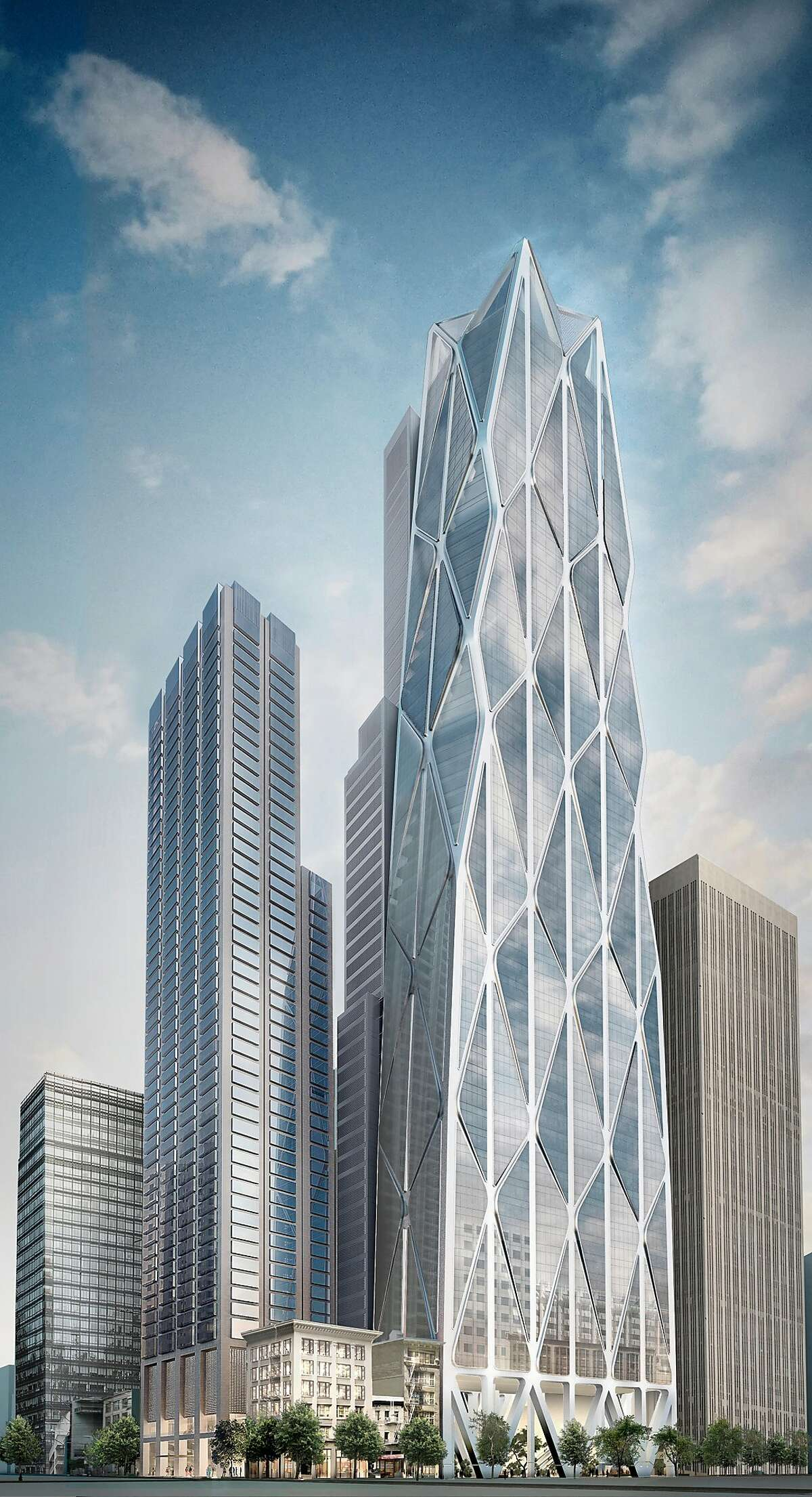 Oceanwide Center, designed by Foster + Partners with Heller Manus Architects, will include a 910-foot tower on First Street and a 625-foot high-rise on Mission Street. The complex will include housing, offices, a hotel and a public plaza. The official groundbreaking is Dec. 8, 2016 and the buildings are scheduled to open to the public by 2021.