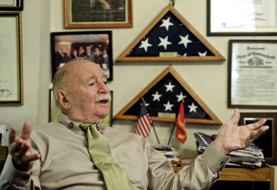 John Esposito, of Danbury, a World War II veteran who served in the Pacific Theater, talks about the attack on Pearl Harbor and his experiences during WWII.  Tuesday, December 6, 2016, in Danbury, Conn. Photo: H John Voorhees III / Hearst Connecticut Media / The News-Times