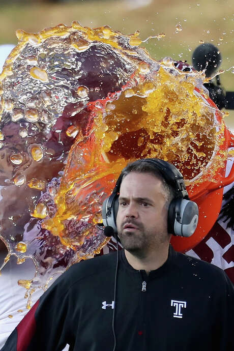 Matt Rhule received his championship baptismal after leading Temple to the American Athletic Conference crown. Photo: Rob Carr, Staff / 2016 Getty Images