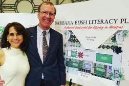 Neil and Maria Bush announced a $500,000 donation from George H.W. and Barbara Bush to help renovate the Central Library plaza downtown, which will be named the Barbara Bush Literacy Plaza.