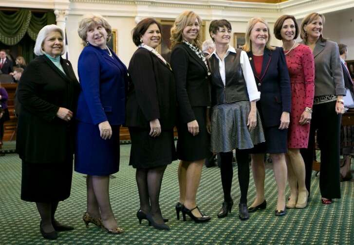 In 2015, the record eight female Texas state senators were, left to right, Judith Zaffirini, Jane Nelson, Leticia Van de Putte, Joan Huffman, Donna Campbell, Sylvia Garcia, Lois Kolkhorst and Konni Burton (Jay Janner/Austin American-Statesman).