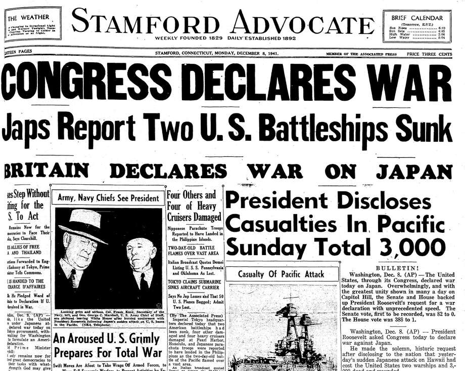Part of The Stamford Advocate's front page on Dec. 7, 1941. Photo: / Hearst Connecticut Media