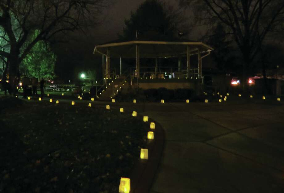 The gazebo in Leclaire Park is decorated with lights for the Luminaria Walk.