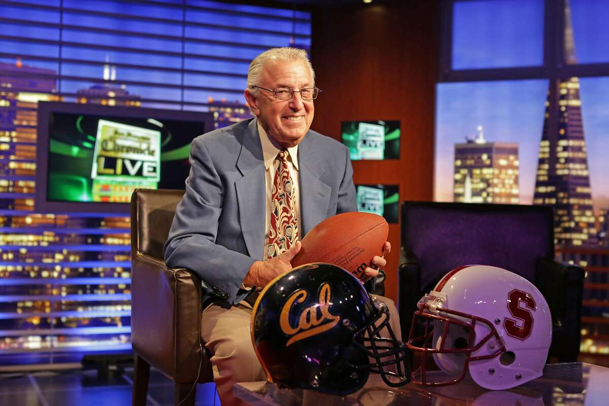 """On October 1, 2012 in San Francisco Calif. Barry Tompkins sits in the Comcast studio where he hosts and guest stars on the show Chronicle Live. November 20th this year will mark the 30th anniversary of CAL's football teams infamous win against Stanford with """"The Play,"""" in which Barry Tompkins was a broadcaster for the highlight show back in 1982."""