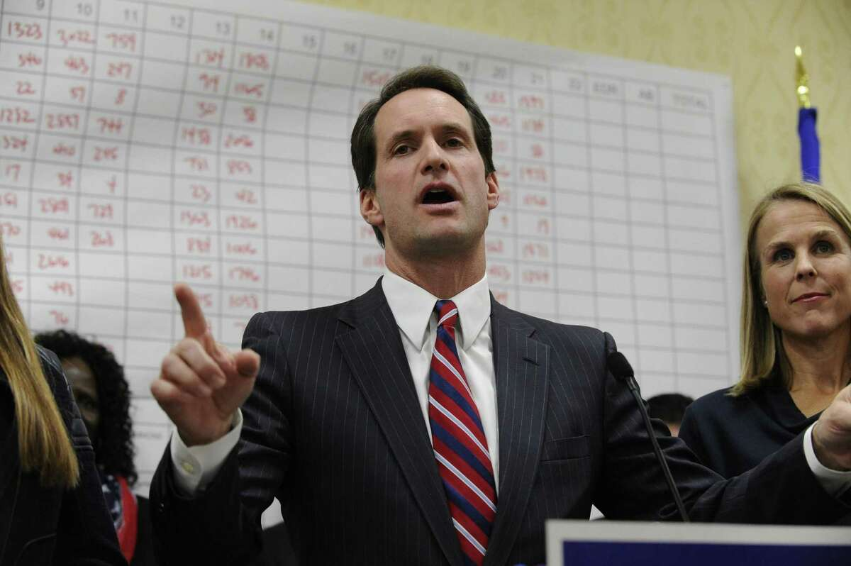 Congressman Jim Himes, D-Conn. , thanks the crowd gathered for a victory party at the Stamford Sheraton on celebration Nov. 8, 2016.