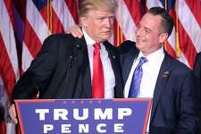FILE - NOVEMBER 13: President-elect Donald Trump has chosen Reince Priebus to be his White House chief of staff. NEW YORK, NY - NOVEMBER 09:  Republican president-elect Donald Trump and Reince Priebus, chairman of the Republican National Committee, embrace during his election night event at the New York Hilton Midtown in the early morning hours of November 9, 2016 in New York City. Donald Trump defeated Democratic presidential nominee Hillary Clinton to become the 45th president of the United States.  (Photo by Mark Wilson/Getty Images)
