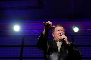 William Shatner addresses fans at the Star Trek Convention on Sunday in San Francisco.