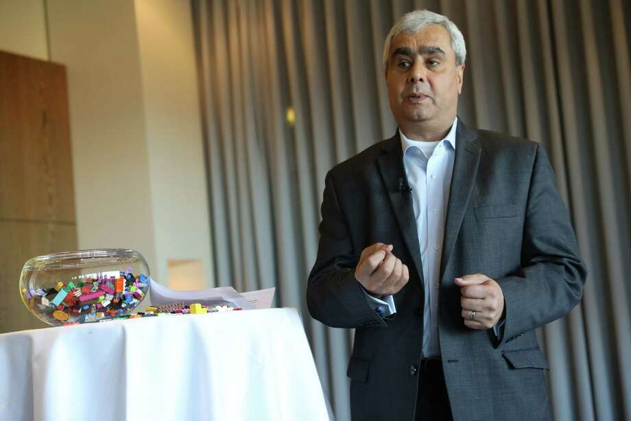 Danish toys group LEGO's new CEO Bali Padda, Tuesday Dec. 6. 2016 speaks  at an press conference in Copenhagen, Denmark. Lego said Tuesday Dec. 6, 2016 that chief operations officer Bali Padda will take over Jan. 1 from Jorgen Vig Knudstorp, who will head up a new entity within the group. Padda, joined Lego in 2002 in Enfield, Connecticut. (Stine Bidstrup/Polfoto via AP) Photo: Stine Bidstrup, SUB / POLFOTO