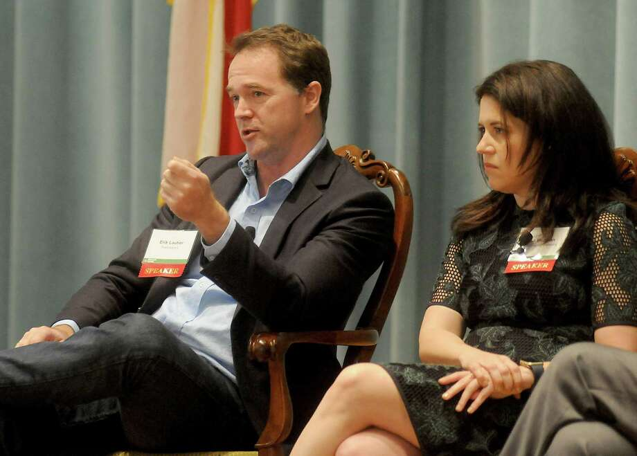 Erik Lautier from Francesca's and  Lisa Helfman from HEB during the Urban Land Institute's future of retail panel at the Junior League Tuesday Dec. 06, 2016.(Dave Rossman photo) Photo: Dave Rossman, Freelance / Dave Rossman