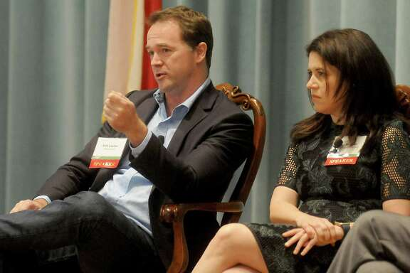 Erik Lautier from Francesca's and  Lisa Helfman from HEB during the Urban Land Institute's future of retail panel at the Junior League Tuesday Dec. 06, 2016.(Dave Rossman photo)