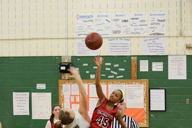 Action from NC seventh grade girls travel season opener against Guilford. New Canaan won 32-31.
